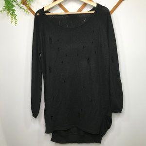 Black distressed holey sweater